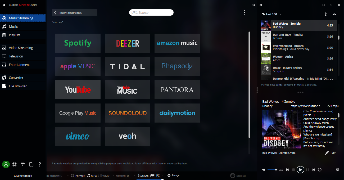 Recorder for Music Streaming and Video Streaming Including Universal Converter