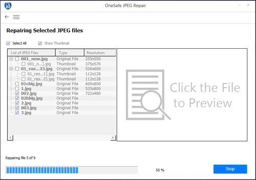 OneSafe JPEG Repair : Repair corrupt or damaged JPEG files