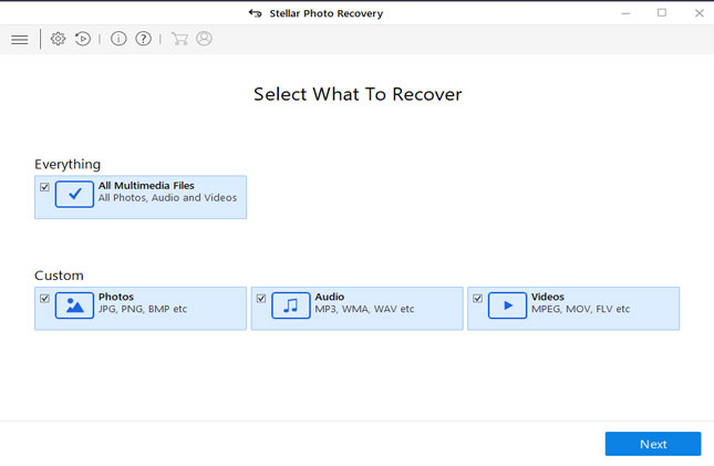 Recovers lost, deleted or formatted photos, music, and video files.